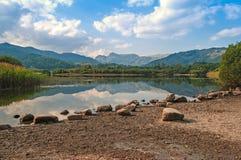 Still,Calm Lake,Mirrored Mountain Relections Royalty Free Stock Photos