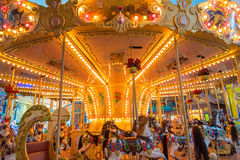 Still Carousel Or Marry-Go-Round With Light Decoration Night Atm. Osphere Royalty Free Stock Photography