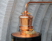 Still copper. Copper still apparatus for distilling alcohol royalty free stock photo