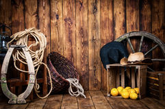 Still in cowboy style on wooden boards. Stock Images
