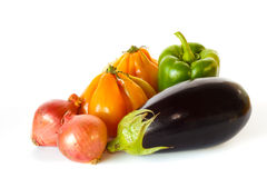Still of eggplant, pepper, onions and tomatoes Royalty Free Stock Photo