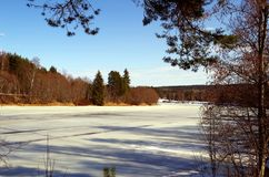 A still frozen river in spring. A frozen river is feeling the warm sun of spring Stock Photography