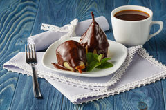 Still image of some chocolate pears Royalty Free Stock Photography