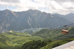 Still lake and cable car in Kurobe Toyama Royalty Free Stock Images