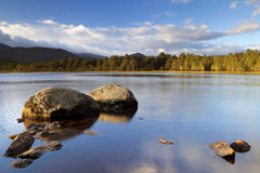 Still lake in early morning light, Loch Morlich, Cairngorms, Sco Stock Images