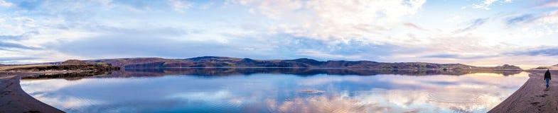 Still Lake Panorama. Panorama of the Kleifarvatn lake on the Reykjanes Peninsula in Iceland stock images