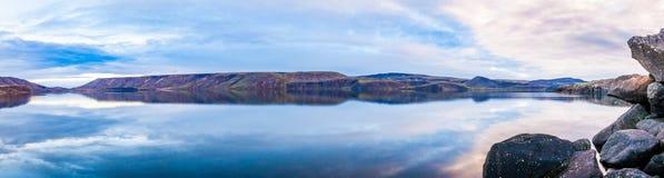 Still Lake Panorama. Panorama of the Kleifarvatn lake on the Reykjanes Peninsula in Iceland stock photography