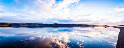 Still Lake Panorama. Panorama of the Kleifarvatn lake on the Reykjanes Peninsula in Iceland royalty free stock photo