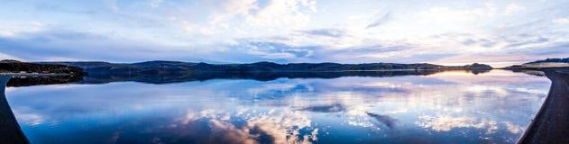 Still Lake Panorama. Panorama of the Kleifarvatn lake on the Reykjanes Peninsula in Iceland royalty free stock photos