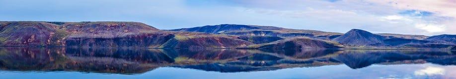 Still Lake Panorama. Panorama of the Kleifarvatn lake on the Reykjanes Peninsula in Iceland royalty free stock image