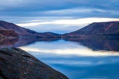 Still Lake Panorama. Panorama of the Kleifarvatn lake on the Reykjanes Peninsula in Iceland stock photo