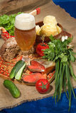 Still Lif With Beer And Potatoes Royalty Free Stock Photography