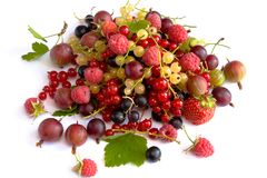 Still life. With currants, raspberries, gooseberries and strawberry Royalty Free Stock Image