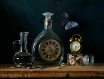 STILL-LIFE. With hours on a dark blue background royalty free stock image