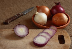 Still life. Onion is cut on a board. Still life Stock Photography