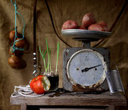 Still life. Old spring-balance. One kilogram of potato. Still life Royalty Free Stock Image