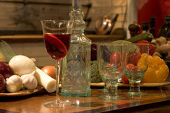 Still life. Red wine in a a glass on a restaurant table stock image