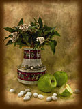 Still life. Vintage card with flowers in a vase, apples and almonds in sugar icing--artwork in painting style . ideal for your project or menu Royalty Free Stock Photos