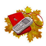 Still-life. Phone of cellular communication and red cover Royalty Free Stock Image