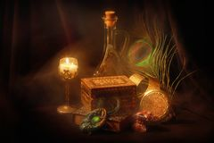 Still-life. Smooth-lighted artistic still-life with candle, oil, book, jewel-box and bijouterie Stock Photos