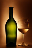 Still Life #52. Green bottle and glass with white wine. HDRI Stock Photography