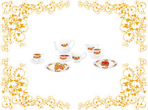 Still life. Still-life: tea service from white porcelain with a flower pattern. Illustration Stock Images