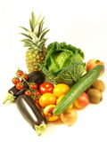 Still life. Of different vegetable and fruits on isolated white background stock photos