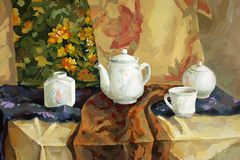 Still life. Illustration of white tea set consisting of several items on many kind drapery background royalty free illustration