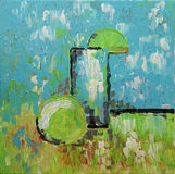 Still Life abstract art original oil painting. LEMONADE. LEMONADE Still Life abstract art original oil painting. Glass and lemon fruit on table. Modern fresh Royalty Free Stock Photos
