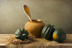 Still life with acorn squash Royalty Free Stock Images