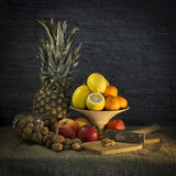Still Life With Ananas And Walnuts. Still life with ananas, lemons, apples, tangerines and walnuts Stock Image