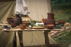 Still life from ancient clay pots. Old times life reconstruction Stock Photo