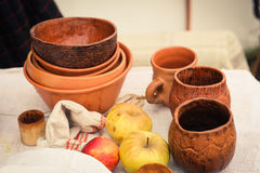 Still life from ancient clay pots. Old times life reconstruction Stock Images