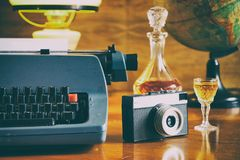 Still life in antique furniture, journalism concept stock images