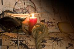 Still life with antique map Stock Photography