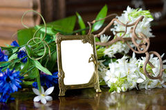 Still life with antique ornate frame. Royalty Free Stock Photo