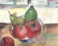 Still life with apple and pears Stock Photo