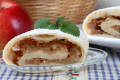 Still life with apple roll. (strudel Royalty Free Stock Photography