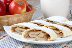 Still life with apple roll (strudel). And apples Stock Photo