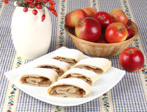 Still life with apple roll (strudel) Royalty Free Stock Photo