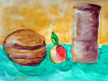 Still life with apple and vases made by child. Still life of apple and two vases on a blue table against a yellow wall. Painted by child Stock Images