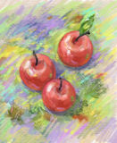 Still life with apples. Watercolor and digital pastel stock illustration