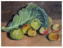 Still life of apples and cabbage leaf Stock Image