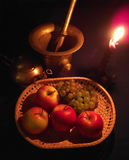 Still life with apples and grapes Stock Photos