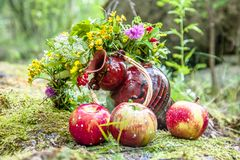 Still life with apples, a jug and a wreath of wild flowers royalty free stock image