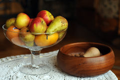 STILL LIFE with apples and nut. Apples, pears and nuts in beautiful still life scenery Royalty Free Stock Image