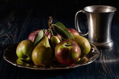 Still life with apples and pears Stock Images