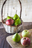 Still life with apples and pears. Royalty Free Stock Photo