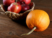 Still life with apples and pumpkins Stock Images