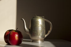 Still Life with Apples and Silver Coffee Pot Royalty Free Stock Photo